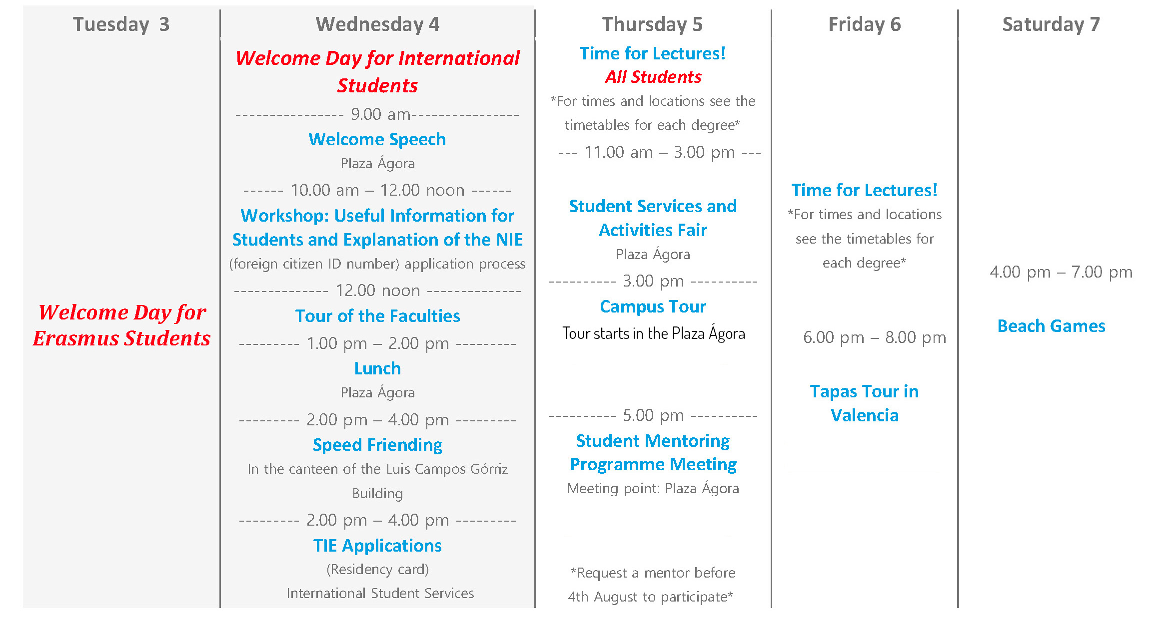 Calendario Valencia 2019.Start Of Lectures For New Students Welcome To The Valencia Campus